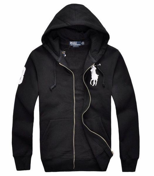 Black Hoodies for Men | White Big Pony Fleece Full Zip Black Polo Hoodie  for Men