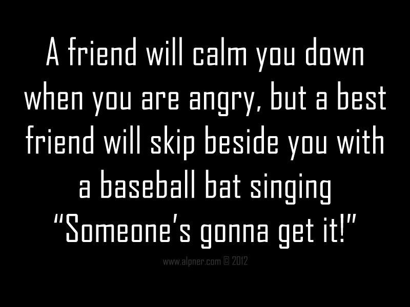 Funny Quotes A Friend Will Calm You Down When You Are Angry But A Best Friend Will Skip Besid Best Friend Quotes Funny Sarcastic Quotes Funny Friends Quotes