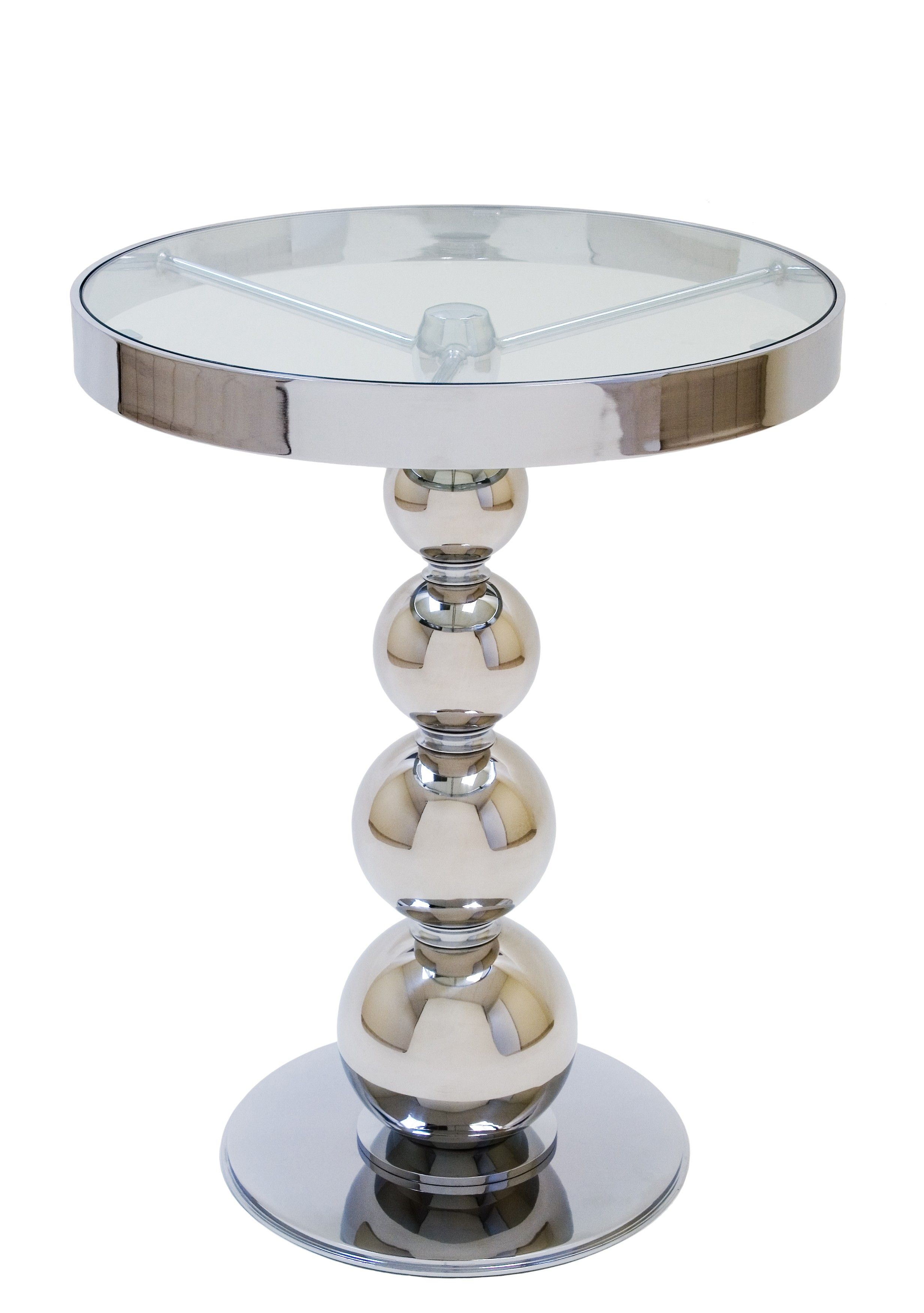 Best San Juan Round Glass Top Side Table With Polished Chrome 400 x 300