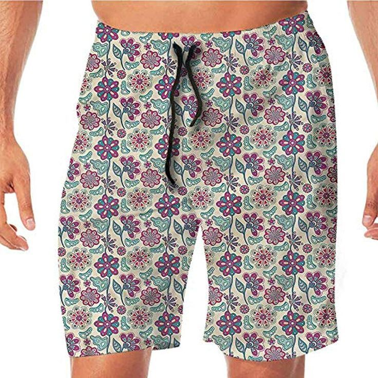 QuickDry Beach Shorts for Men PaintFlourishing Peony Herbs Aster Shorts for Tee  QuickDry Beach Shorts for Men PaintFlourishing Peony Herbs Aster Shorts for Tee