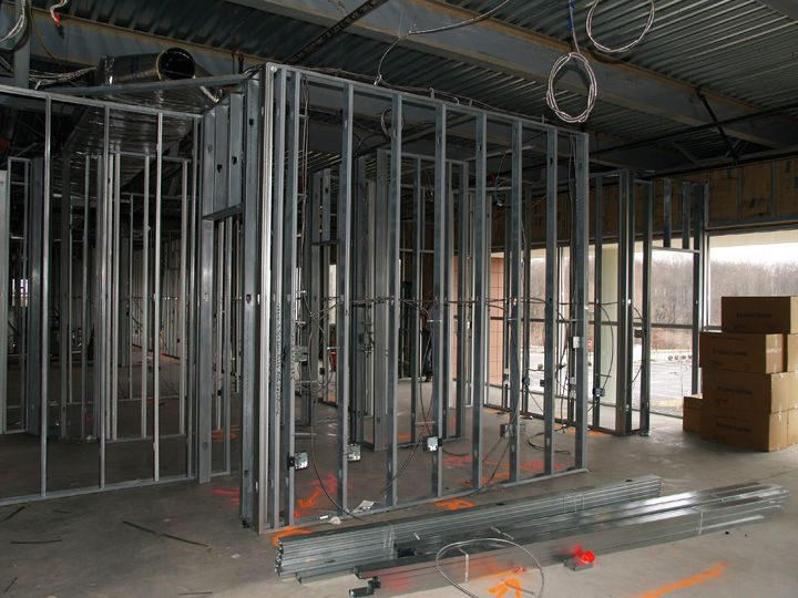 Metal Stud Construction In A New Construction Complex Interior Walls Framed With Metal Studs Cheap Interior Design Frames On Wall Metal Stud Framing