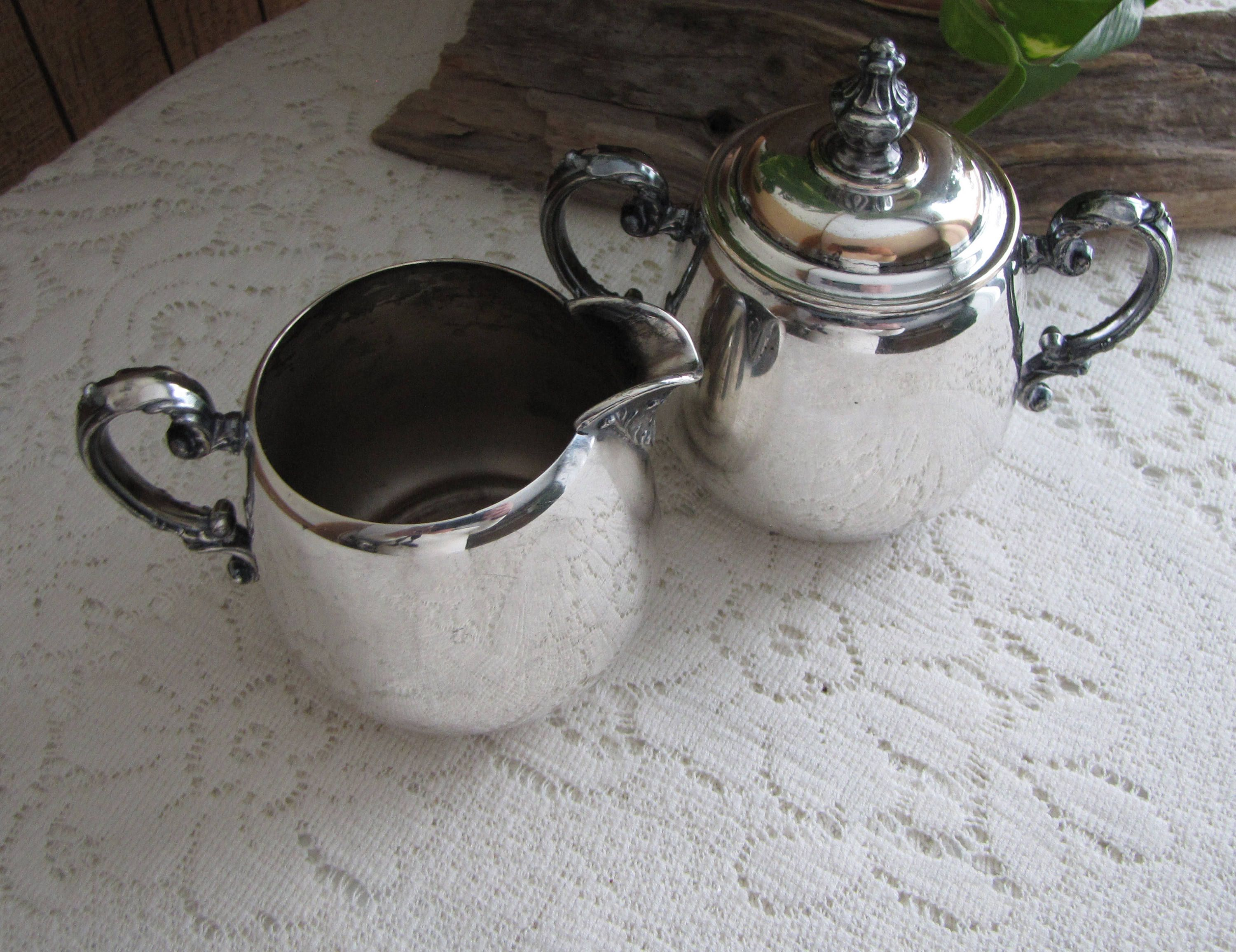 Antique Wm. Rogers Silver Plated Cream and Sugar Bowl Eagle and the ...