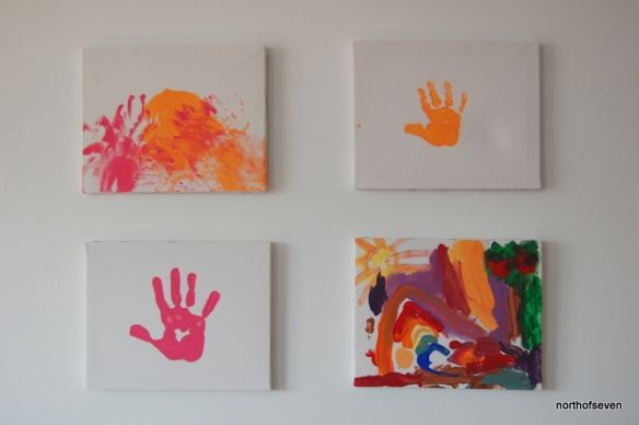 Kids Hand Print Painting Wall Art Home Art For Kids Crafts