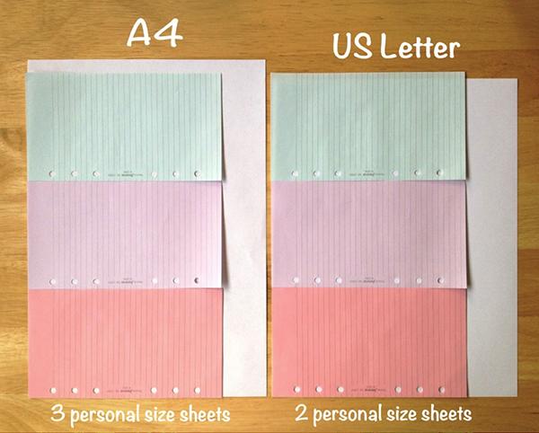 A4 vs Letter Size Paper parison for Filofax inserts