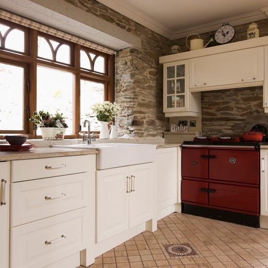 Exposed Brick Country Kitchen With Aga Exposed Brick Aga And Bricks