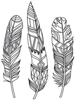 Doodle Feathersimage Henna Kunst Zeichenvorlagen Federn Und
