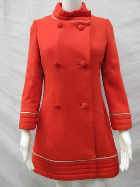 1960 | Bright Orange Knit Mod Coat with White Piping at Hem and Cuffs by Lilli Ann