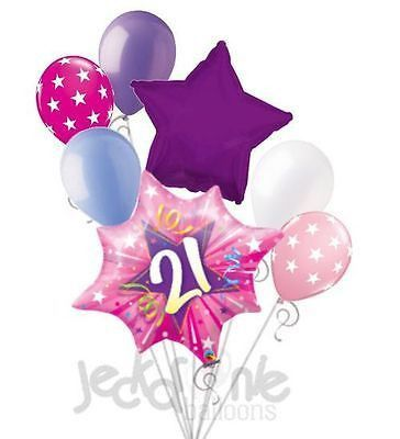 7 Pc Shining Pink Sweet 16 Happy Birthday Balloon Bouquet Party Decoration 16th 21st
