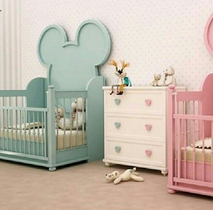 Twin Baby Girl Bedroom Ideas room for twin boy & girl, mickey and minnie mouse | baby room