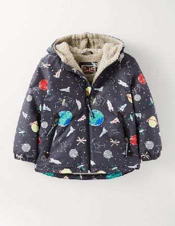 b99724584 Mini Boden Sherpa Lined Anorak Dark Grey Space Print Boys Take one giant  leap into the