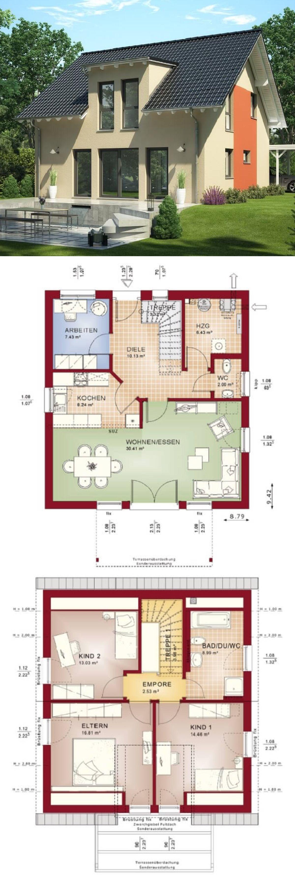 modernes haus mit satteldach architektur zwerchgiebel einfamilienhaus bauen grundriss. Black Bedroom Furniture Sets. Home Design Ideas