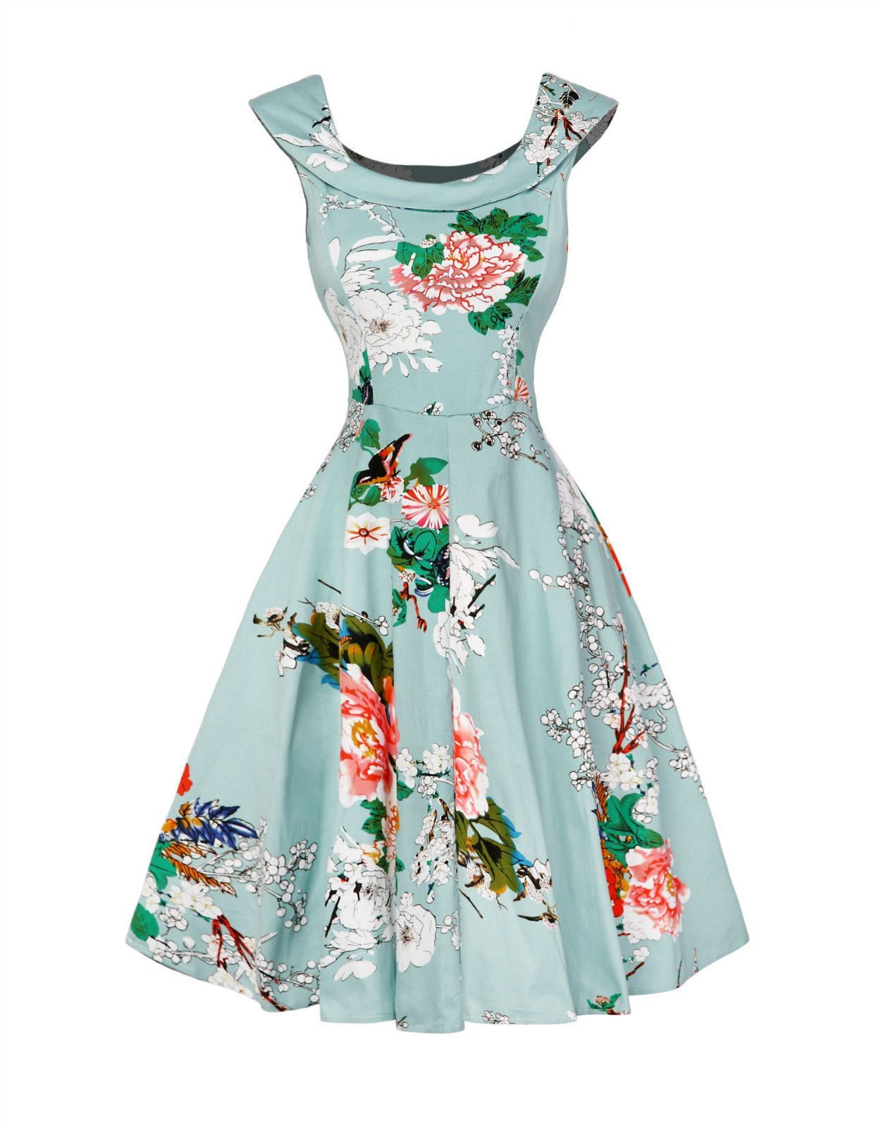 Vintage Womens 50S 60S Retro Floral Rockabilly Pinup Housewife Party ...