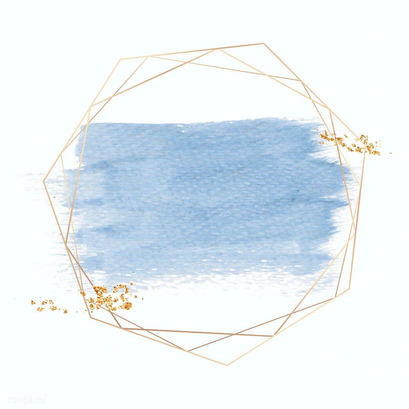 Gold geometric frame on a blue brushstroke background