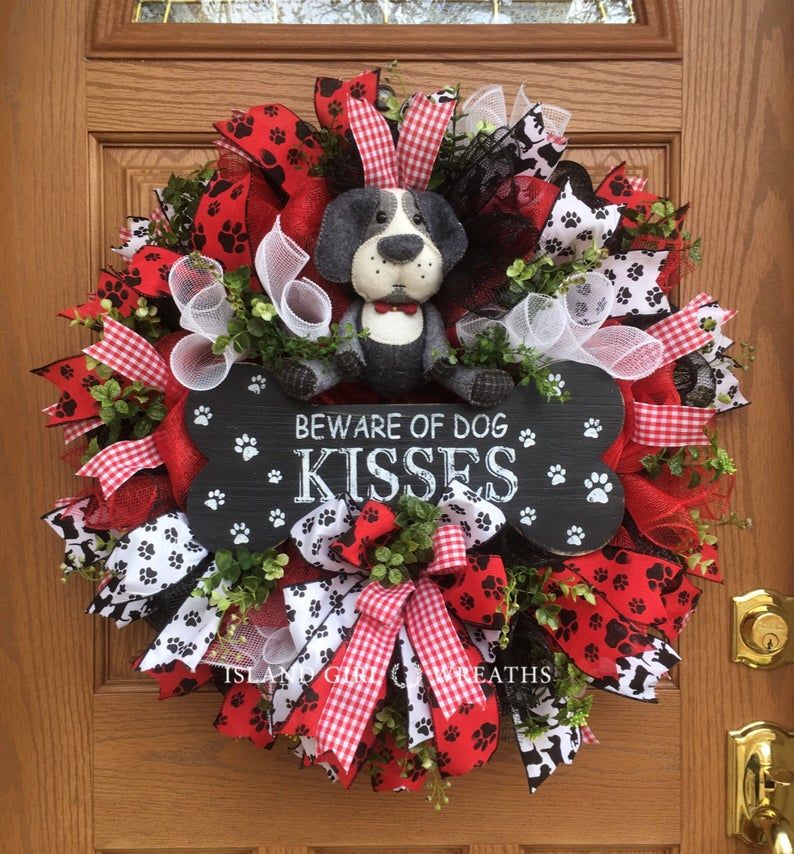 Photo of Dog wreath, dog wreaths, dog wreaths for the front door, beware of dog kiss wreath, dog mama wreath, paw print tape