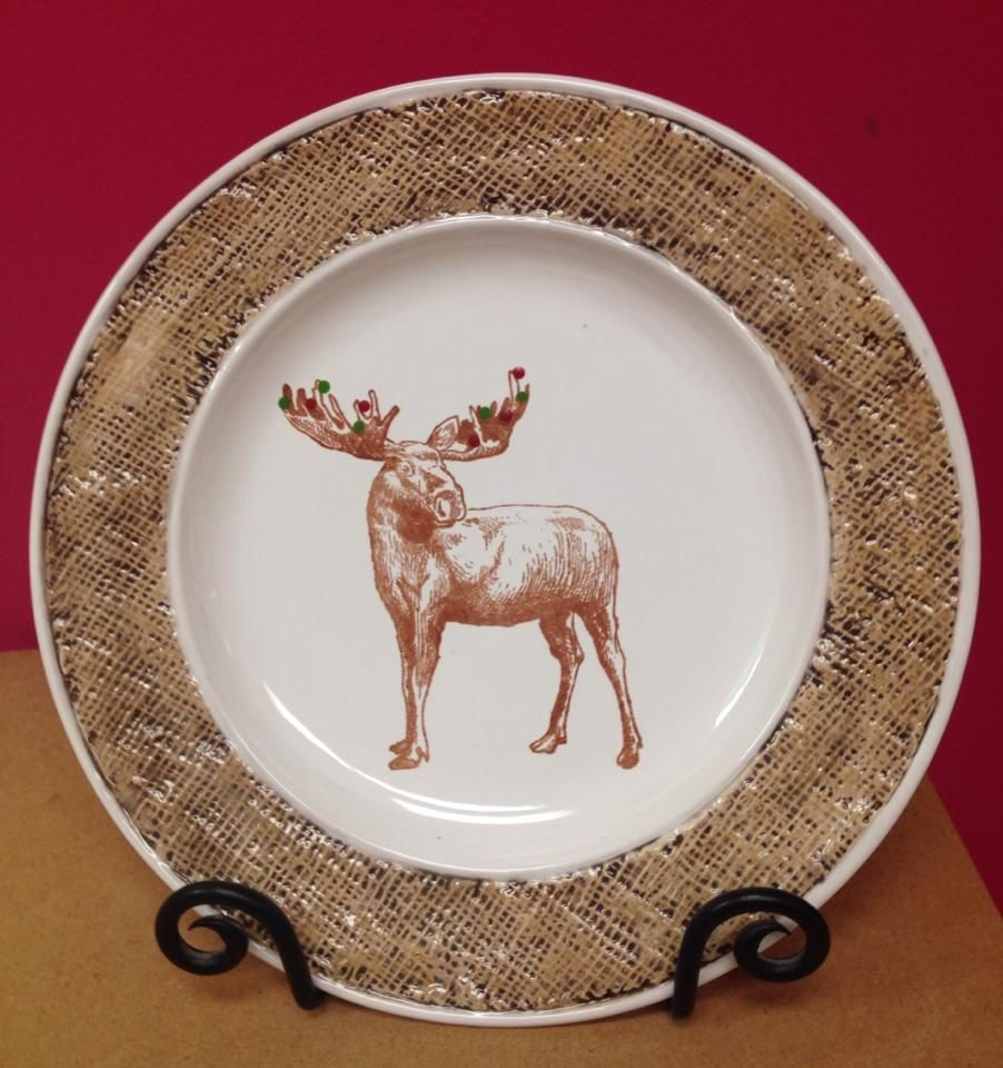 This Burlap Dinner Plate uses our burlap and silkscreen techniques ...