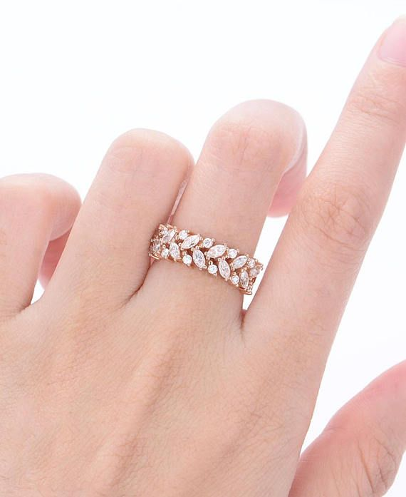 Rose gold wedding band Marquise cut Cluster Leaf Moissanite Vintage Bridal Set Jewelry Wedding Mini stone Anniversary gift for women