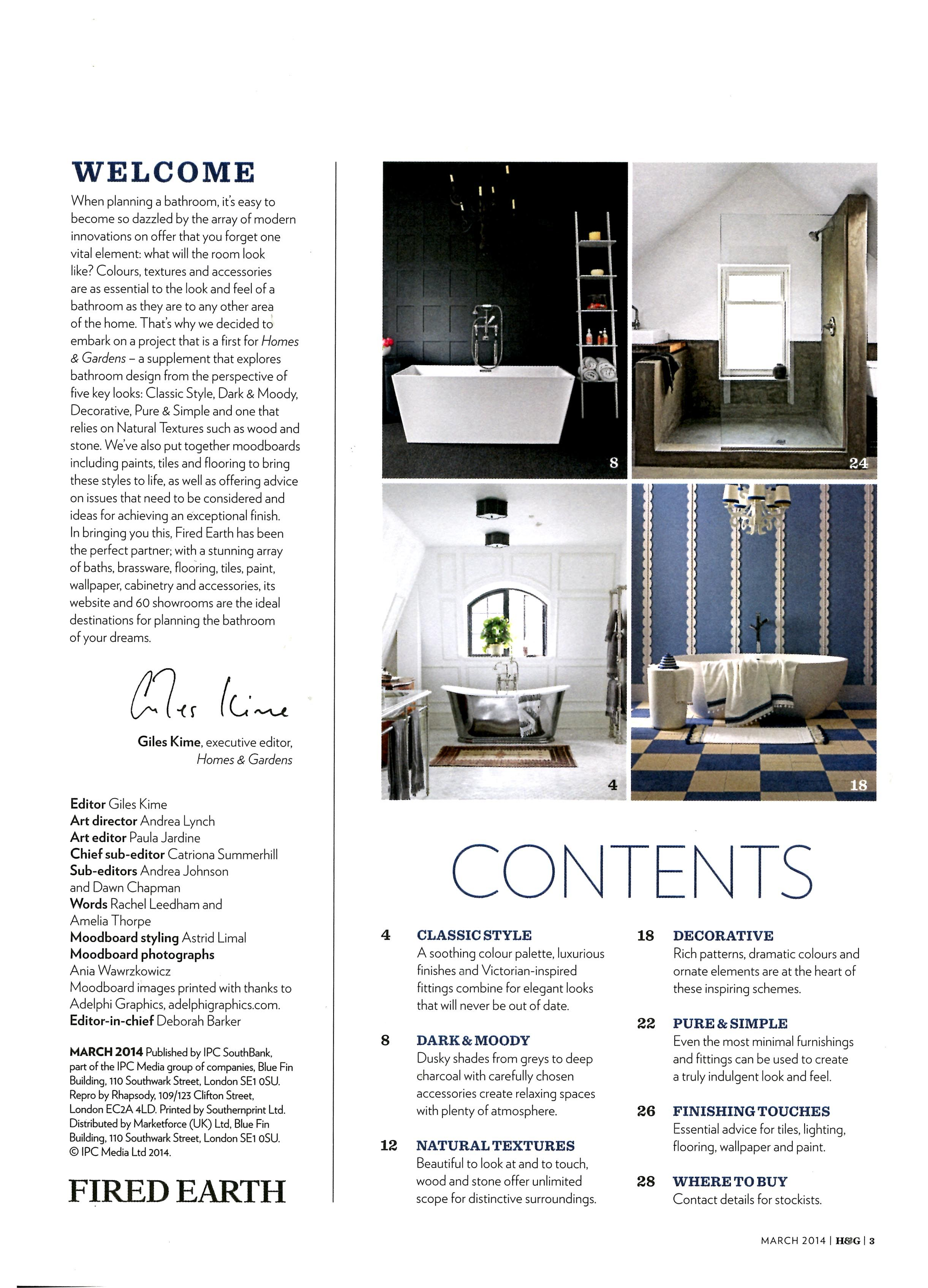Classic bathroom style from Drummonds http://drummonds-uk.com Homes & Gardens Inspired Bathrooms Supplement March 2014