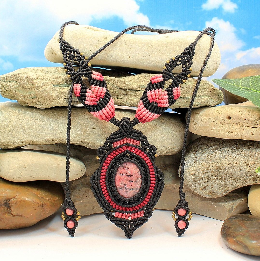 Rhodonite Venus Necklace   #necklaces #pink #rhodonite #macrame