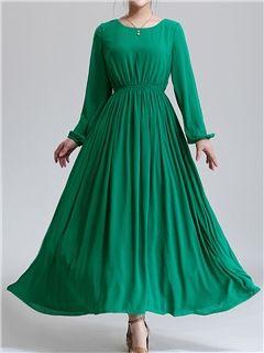 f3aa42fd77b Ericdress Qualities Plain High-waist Maxi Dress