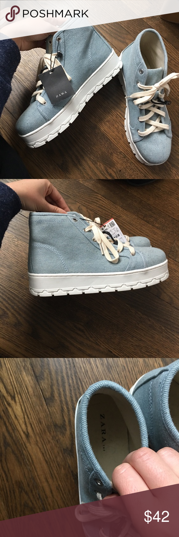 cb4b590e9bba5 ZARA Women s Blue Platform Sneakers ZARA light blue sneakers that are 🆕  with tag and never