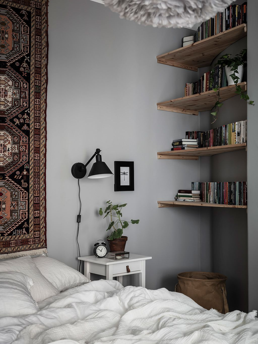 A Beautiful Grey & Blue Scandinavian Apartment — THE NORDROOM   Bedroom decor cozy, Scandinavian ...