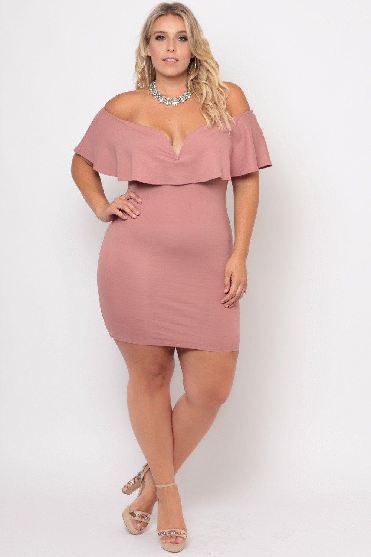 Plus Size Frill Bodycon Dress - Blush | Nena, Gordita y Belleza