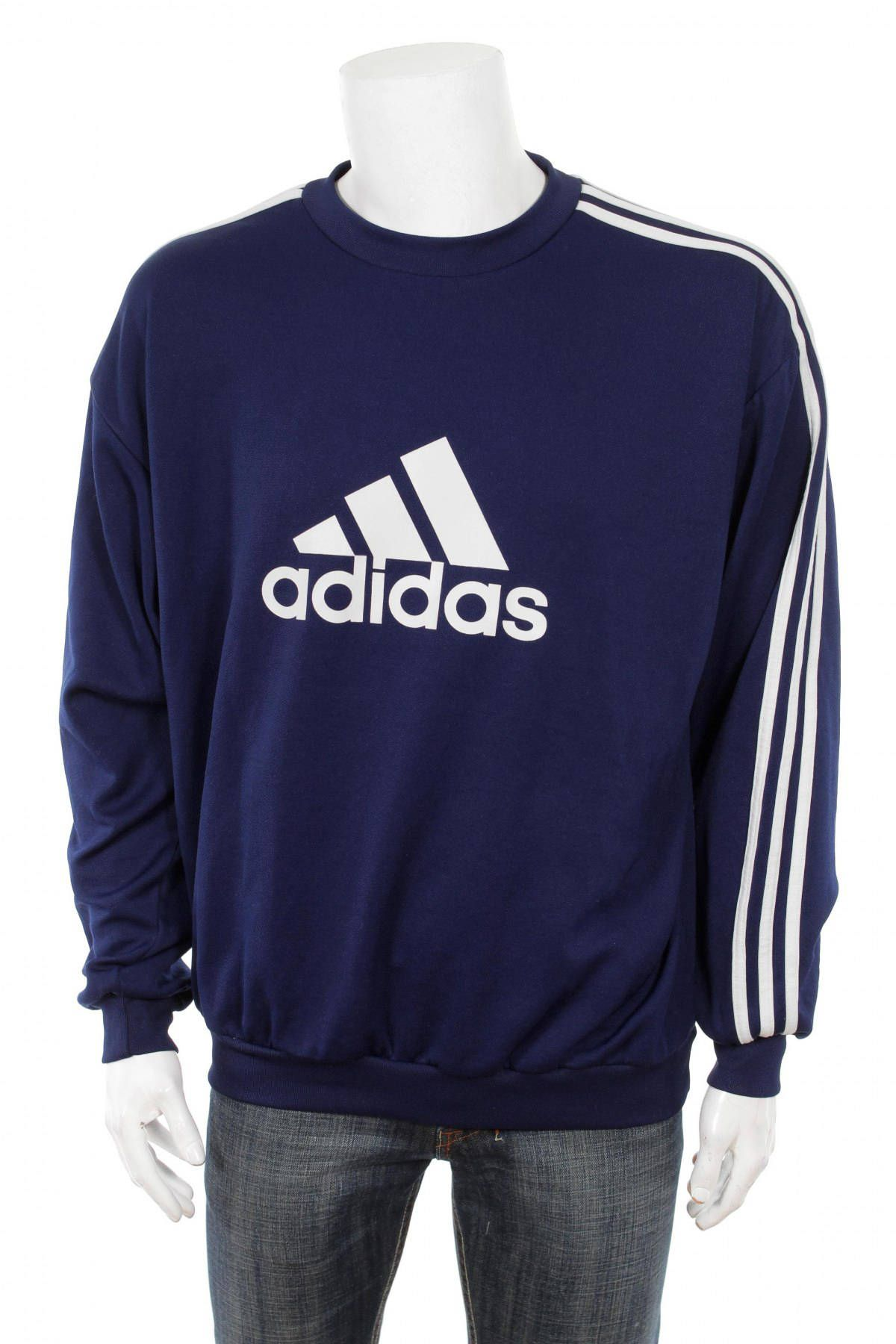 more photos 09d83 98dcf Vintage 90s Adidas Sweatshirt Big Logo Spell Out Navy Blue   White Size XL  D8 by VapeoVintage on Etsy