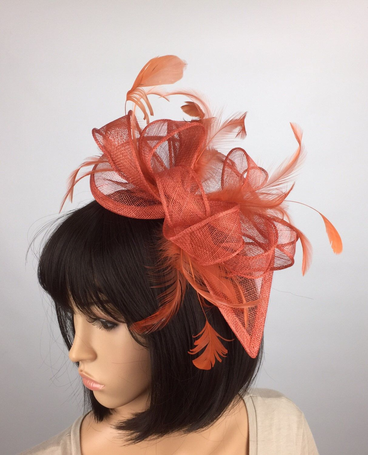 d3face7d5e264 Rusty Burnt Orange Sinamay teardrop Fascinator on headband - Wedding ...