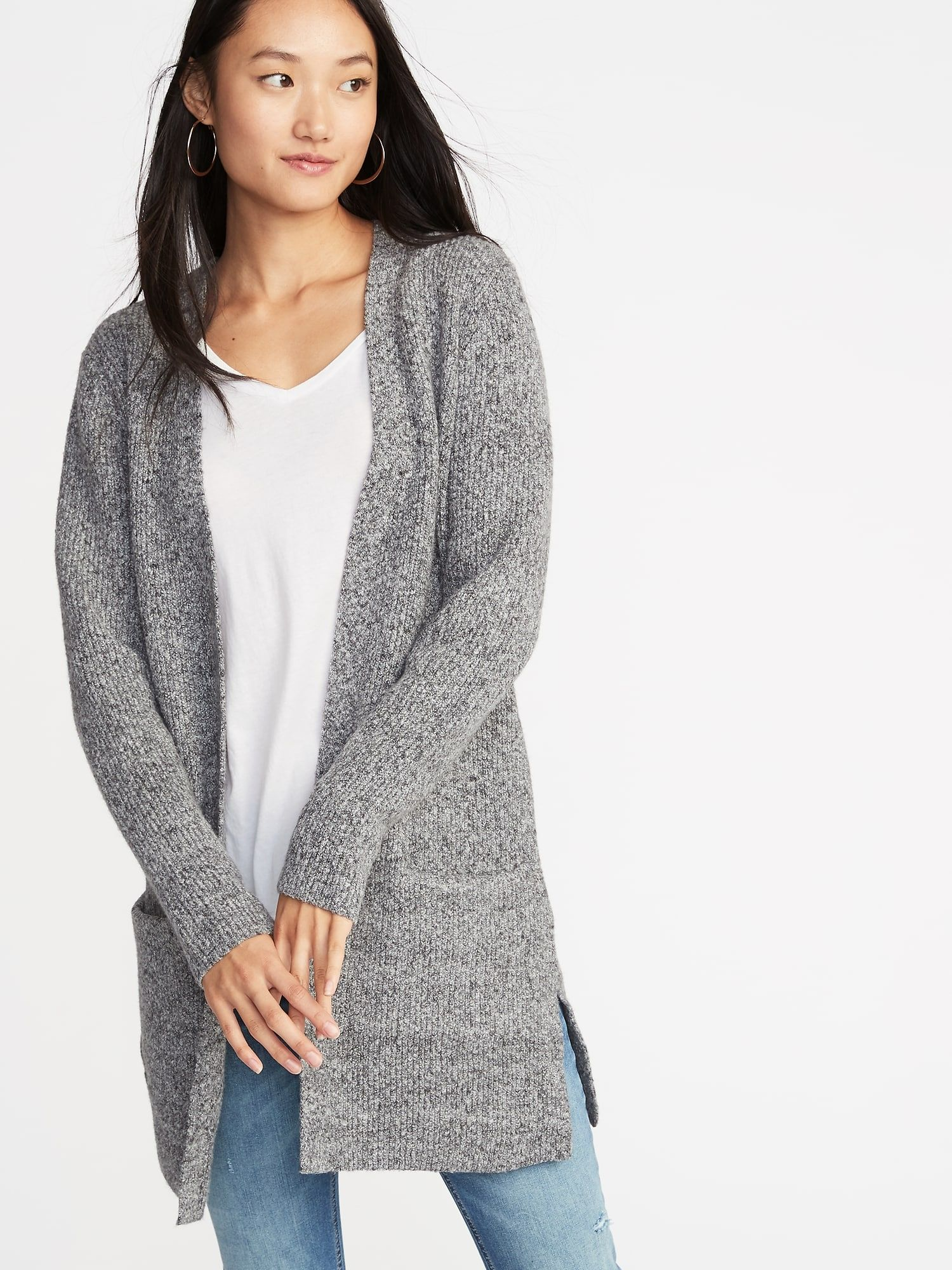 Long,Line Shaker,Stitch Open,Front Sweater for Women