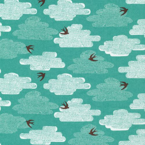 Free as a bird blue moon up up away by skinny for Moon pattern fabric