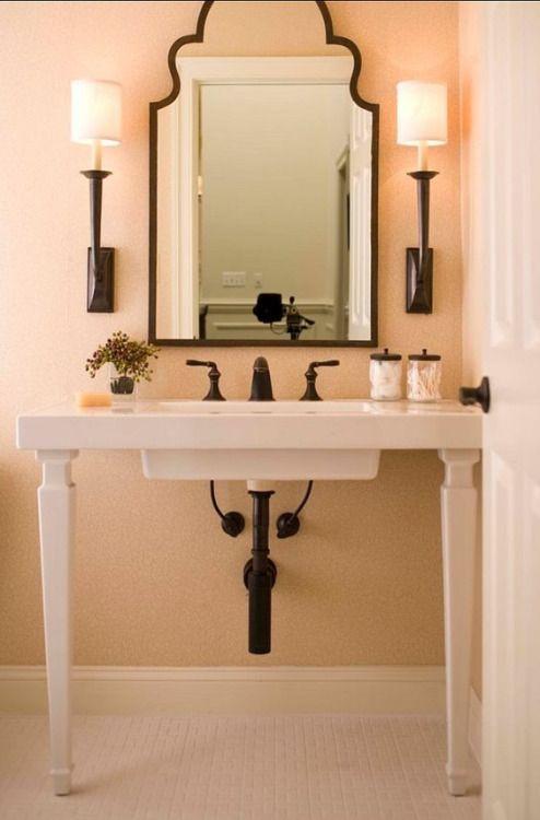 Peach Black White Bathroom Colors Shabby Chic Bathroom