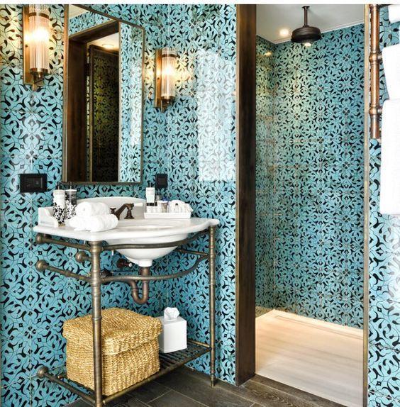 Moroccan Bathroom Turquoise Marokańska łazienka Turkusowa