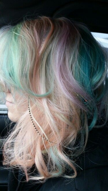 Pravana Pastels Pink And Lavender Mint Blue Blonde All Cotton Candy Colors In The Hairs