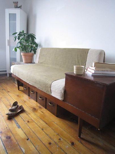 Under-couch storage. Image credit: MaryAnne Petrella