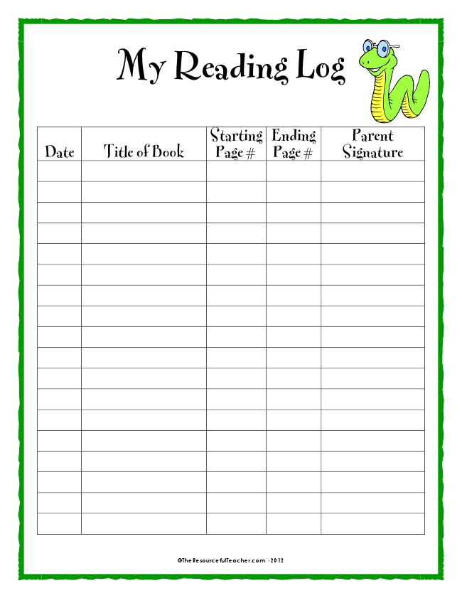 11++ Reading log worksheets Top