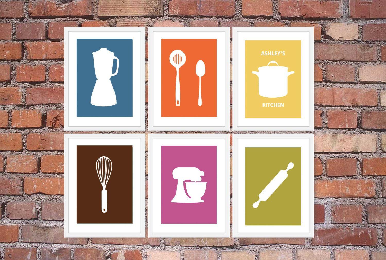 Modern Kitchen Art Wood Table Sets Print Set Utensil Appliance Silhouettes Personalized Name Of 6 5 X 7 Prints Brown Blue Orange Green 38 50 Via Etsy