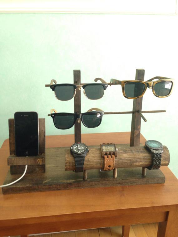 Handmade Wooden Sunglass And Watch Holder Diy Sunglasses Holder Watch Holder Diy Diy Holder
