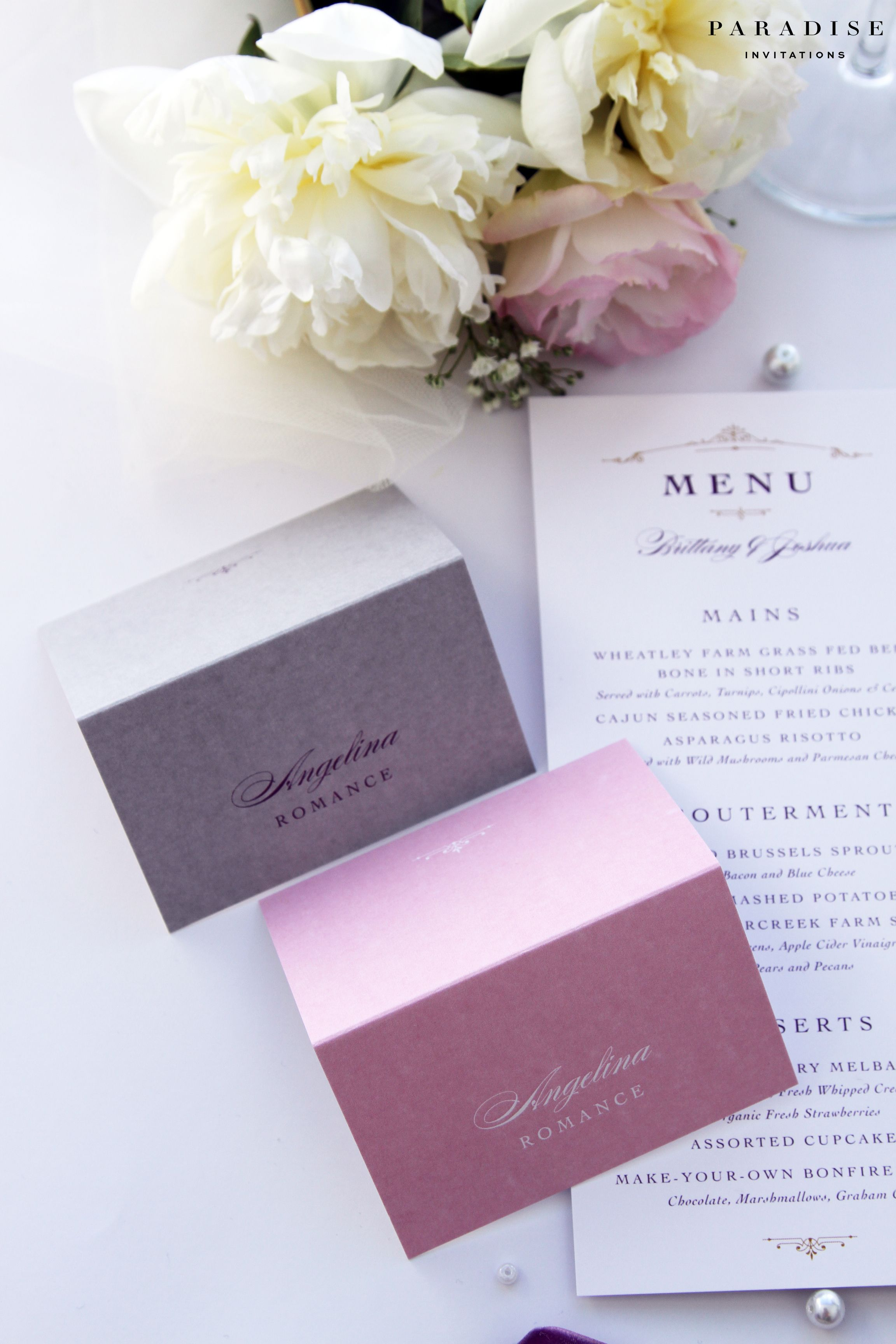 Brooklyn Grey And Pink Place Cards Name Printable Or Printed