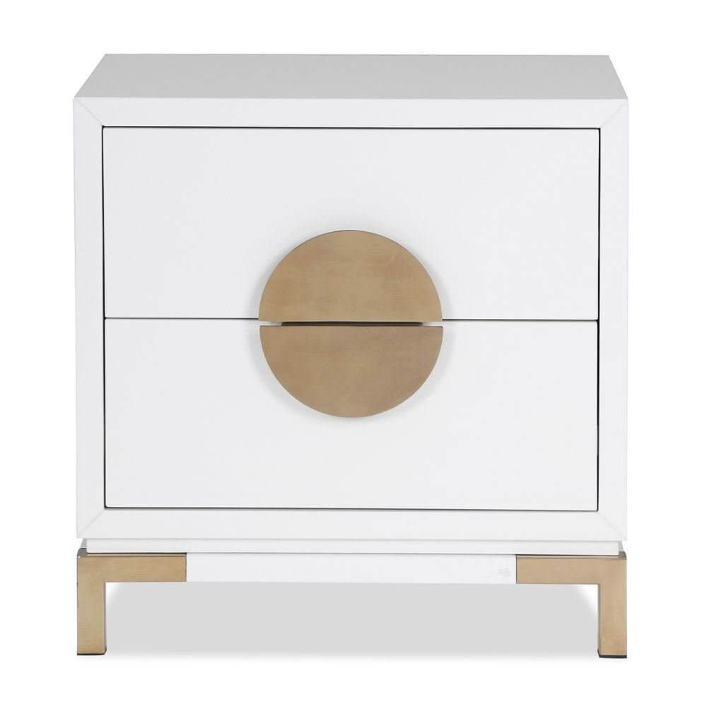 best sneakers 54e72 4f9a9 Liang & Eimil Otium Bedside Table White High Gloss Champagne ...