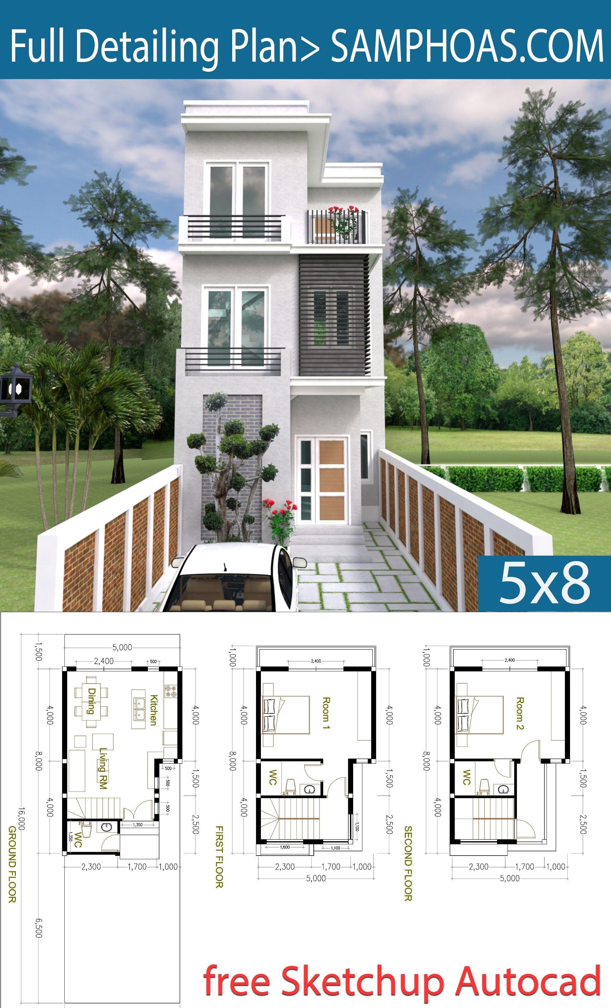 2 Bedroom Tiny Home Plan 5x8m Samphoas Plan Narrow House Plans Tiny House Loft Small House Design