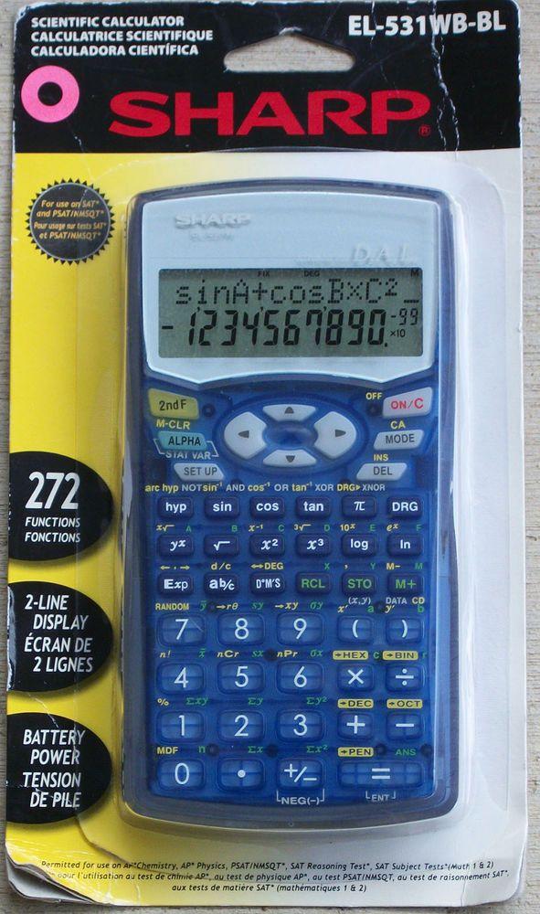 Sharp EL-531WB-BL Blue Scientific Calculator 272 Functions NIP ...