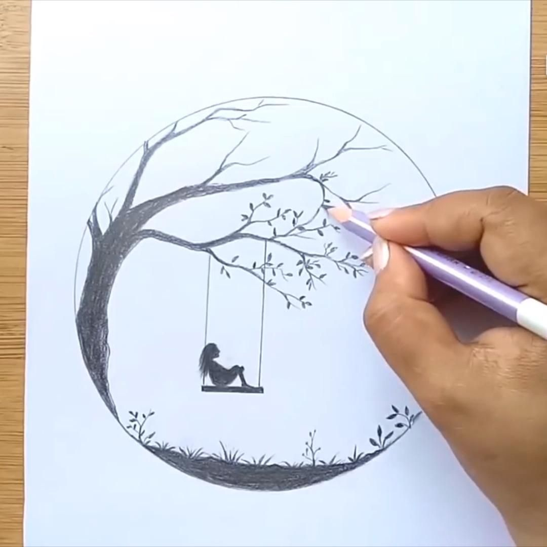 Alone Girl swinging in a tree || How to draw a sad girl