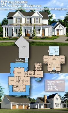 Plan 70638MK: Country Farmhouse Plan with Private