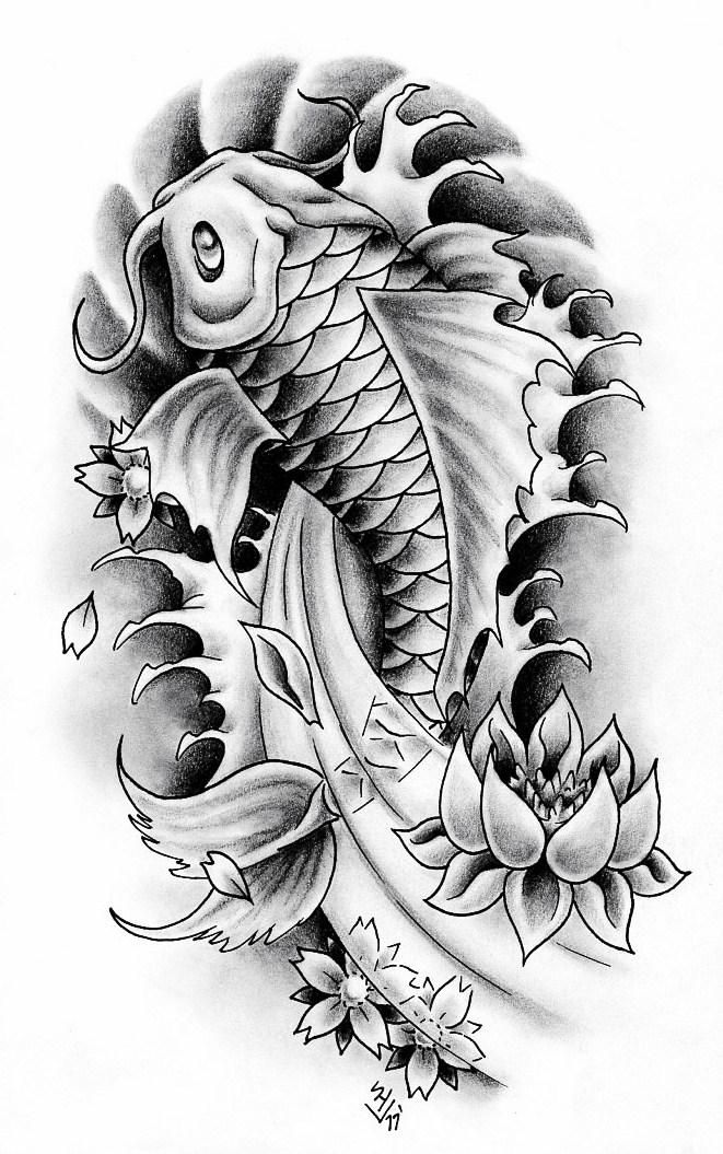 Koi Fish 2 By Hamdoggz Japanese Koi Fish Tattoo Koi Tattoo Design Koi Fish Drawing Tattoo