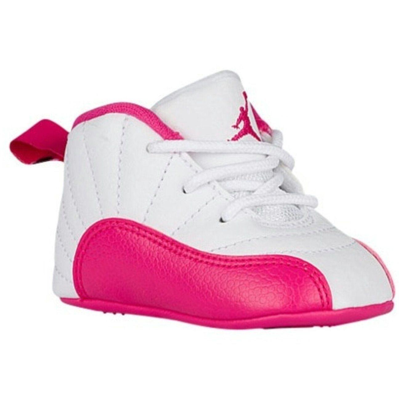 INFANT AIR JORDAN RETRO 12 VIVID PINK | Cute baby shoes, Baby girl ...