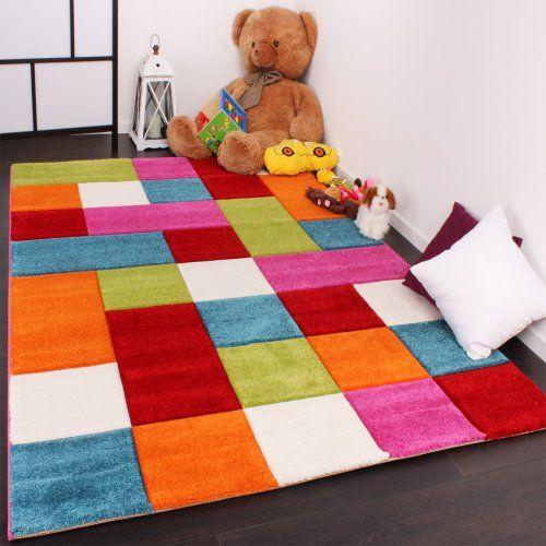 Kinder Teppich Karo Design Multicolour Grün Rot Grau