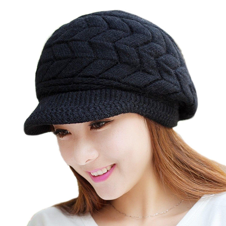 4350c25f19b Womens Fashion Winter Warm Knit Hat Woolen Snow Ski Caps With Visor - Black  - CI126Y0V6WH - Hats   Caps
