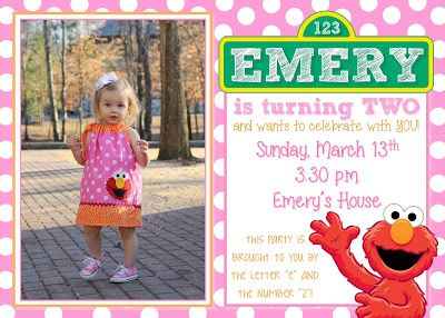 Elmo Birthday Party For A Girl Elmo Birthday Invitation Pink Red