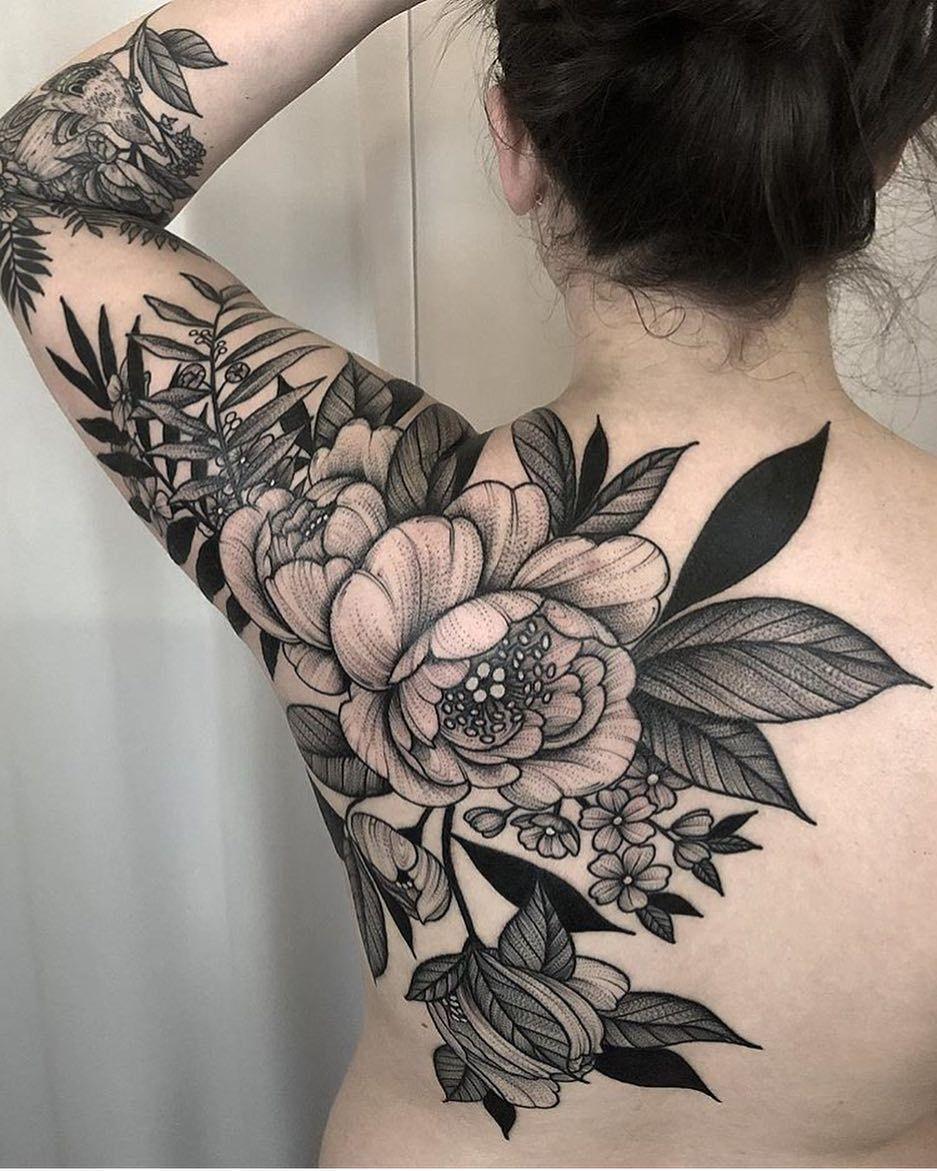 Floral blackwork beautytatoos tattoos beautiful flower