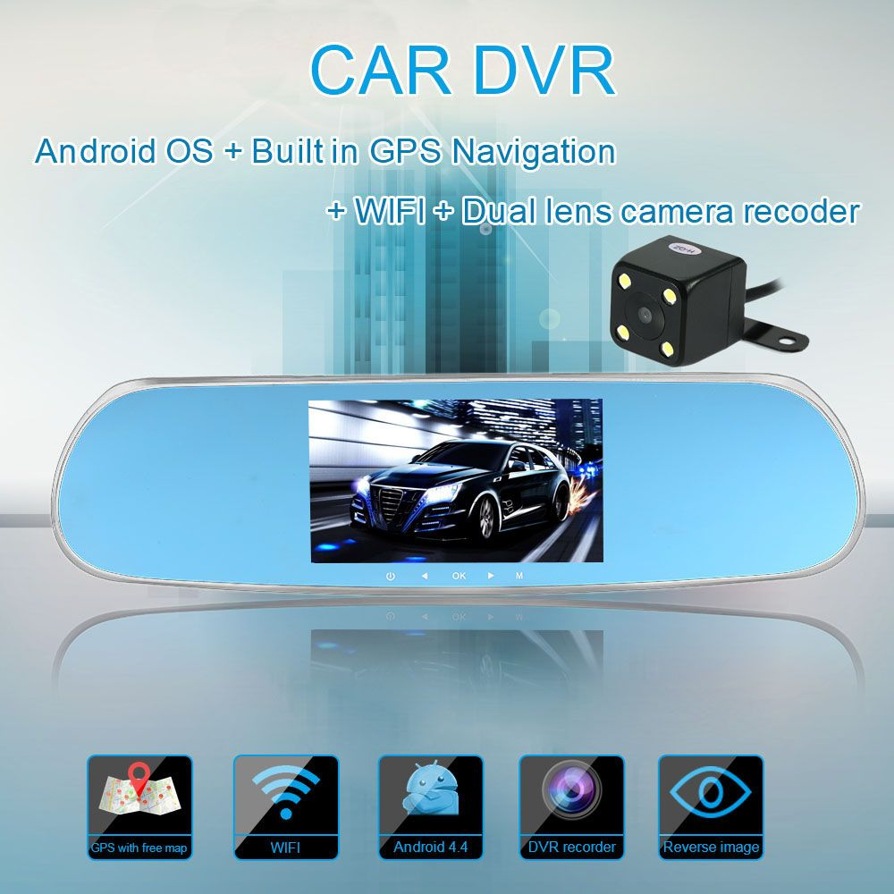 "5/"" Android GPS Nav Car Rearview Mirror DVR Dual Lens Camera WiFi FM MP4 MP3 8GB"